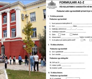 Universitet për ish-maturantët, plotësohet formulari A1Z